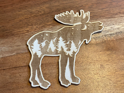 Moose 3D laser cut sticker