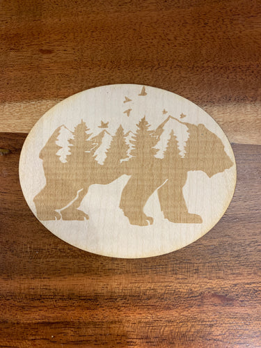 3D Laser Cut Wood Bear Sticker