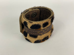 Upcycled Louis Vuitton Leopard Print Cuff Bracelet