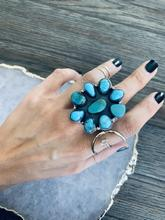 Load image into Gallery viewer, Adjustable Turquoise Cluster Ring-P2002R1