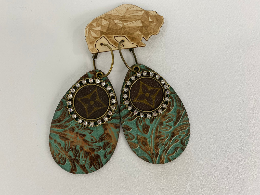 Upcycled Louis Vuitton Turquoise Leather Earrings