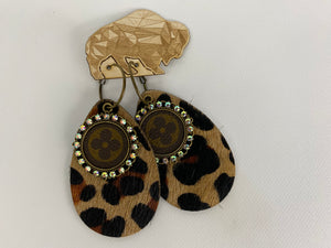 Upcycled Louis Vuitton Leopard Print Leather Earrings