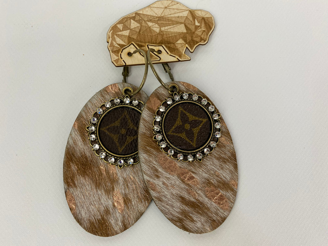 Upcycled Louis Vuitton Metallic Cowhide Leather Earrings