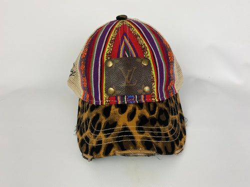 Upcycled LV Serape and Leopard Cap