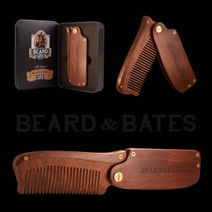 Sandalwood Switchblade Beard Comb