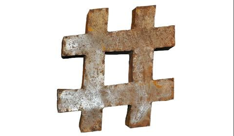 Rusted Metal Hashtag 3D Wall Art