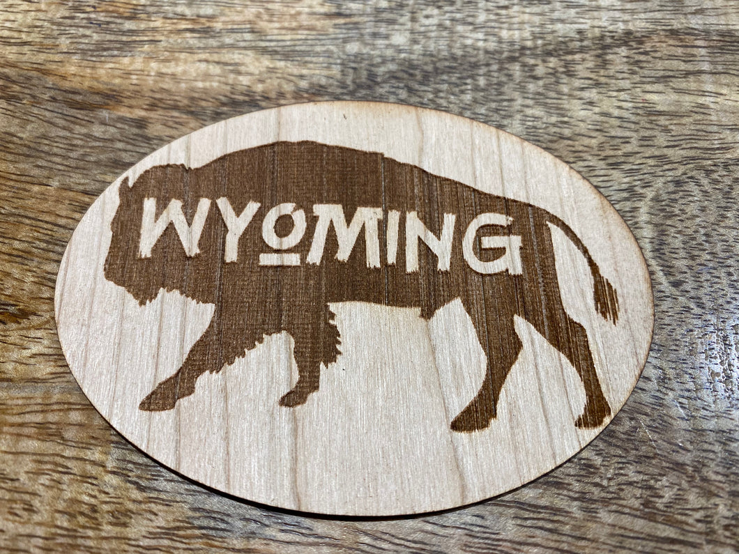 Oval Wyoming Bison 3D Laser Cut Wood Sticker