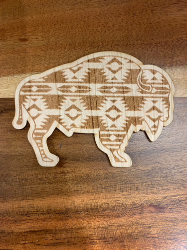 3D Laser Cut Wood Aztec Bison Sticker