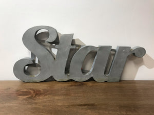 """Star"" Small Zinc Metal Word"