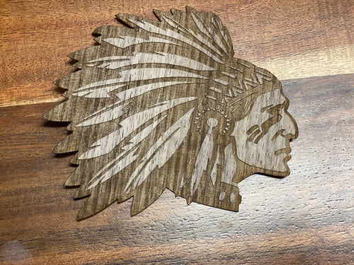 3D Laser Cut Wood 'Head Dress' Sticker