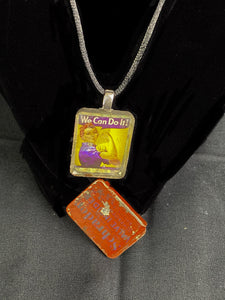 Necklace with Vintage Tin Pendant