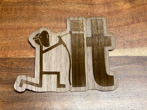 3D Laser Cut Wood 'Weld It' Sticker