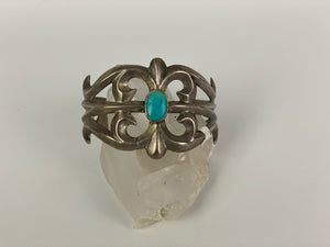 Vintage Sterling Silver and Turquoise Sandcast Cuff-PTC1801C
