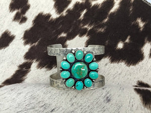 Silver Turquoise Flower Cuff