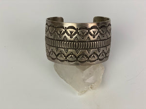 Vintage Sterling Silver Cuff Bracelet Wide Etched Sterling Cuff-P1910C