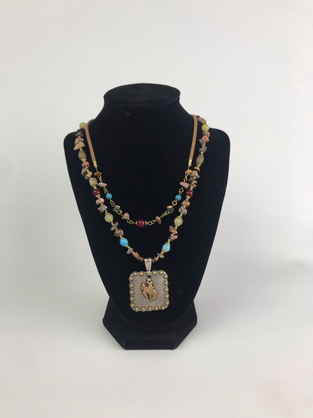 Double Strand Beaded Concho Necklace