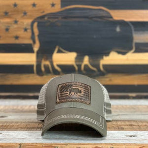 Leather Buffalo Flag Patch Hat