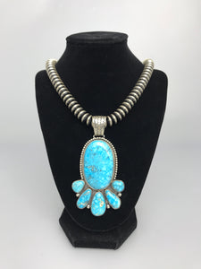 Large Kingman Turquoise Serling Silver Necklace-SS1902P