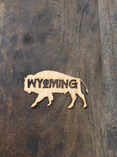 Wyoming Bison Silhouette 3D Laser Cut Wood Sticker