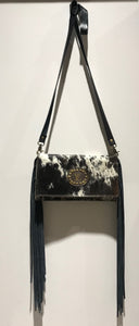 Fringe Leather Handbag w/ LV leather detail
