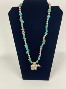 Turquoise and Silver Bead Necklace with Bear Pendant-P1913N