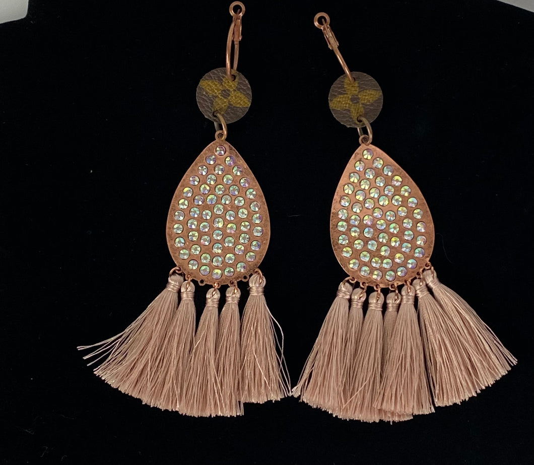 Upcycled LV Circle Flower and Rose Gold Tassel Earrings