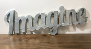 """Imagine"" Large Zinc Metal Word"
