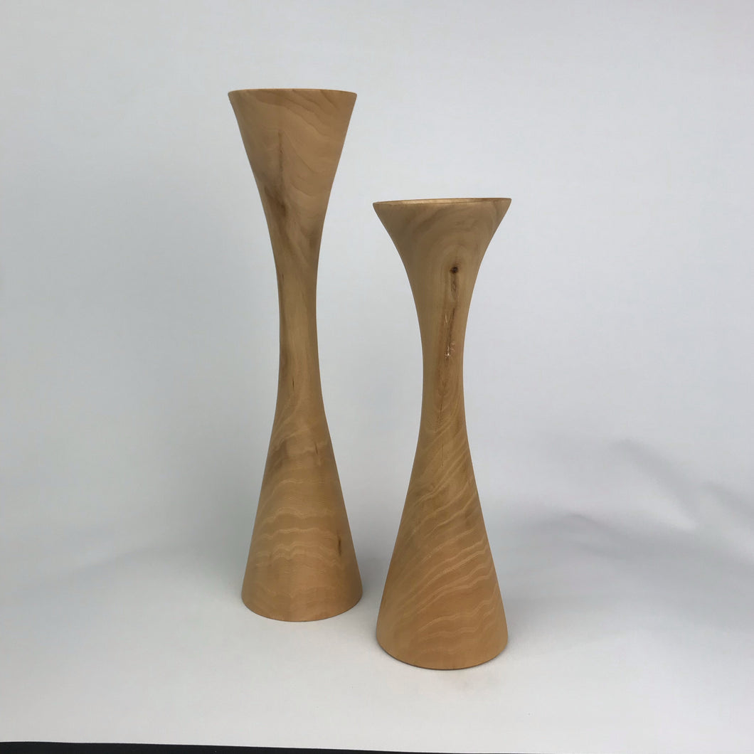 Hand Carved Wood Candle Sticks