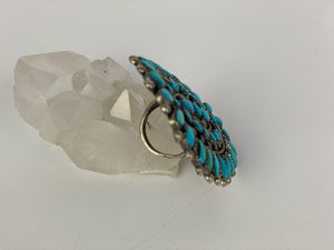 Vintage Sterling Silver and Turquoise Zuni Style Ring-P1906R1