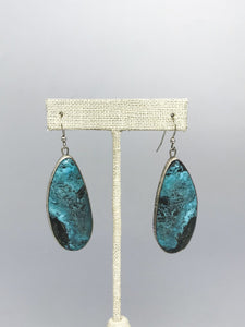 Oval Drop Sterling and Turquoise Earrings-AF1902ER