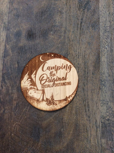 Camping Social Distancing 3D Laser Cut Wood Sticker