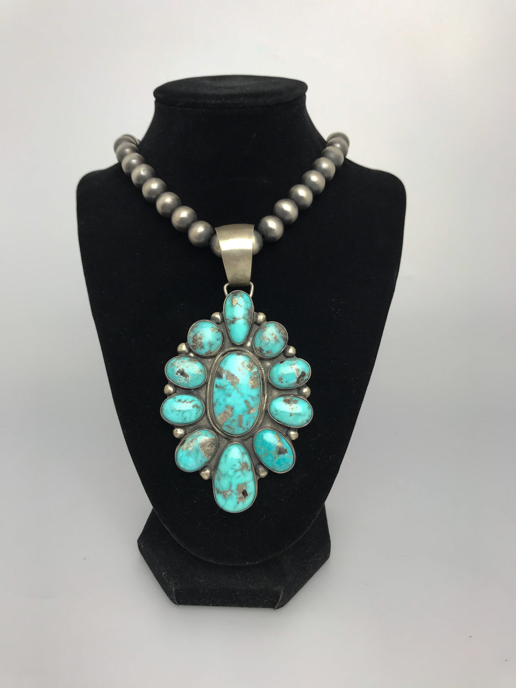 Large Sterling Silver Turquoise Cluster Necklace-SS1802P