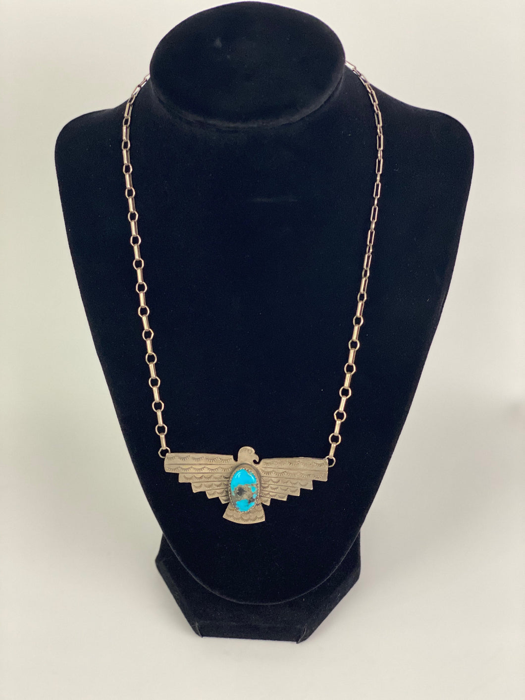 Vintage Sterling and Turquoise Thunderbird Necklace-P1937N