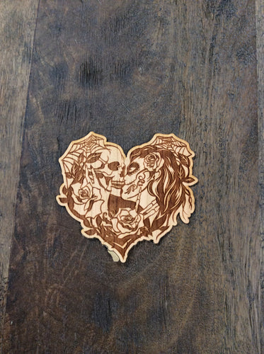 Skeleton Heart 3D Laser Cut Wood Sticker