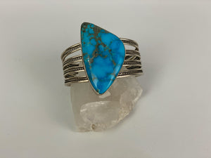 Turquoise and Silver Multiple Banded Cuff Bracelet-P1937C