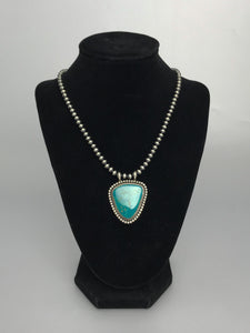 Turquoise pendant and Navajo Bead chain-SS1906N