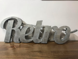 """Retro"" Large Zinc Metal Word"