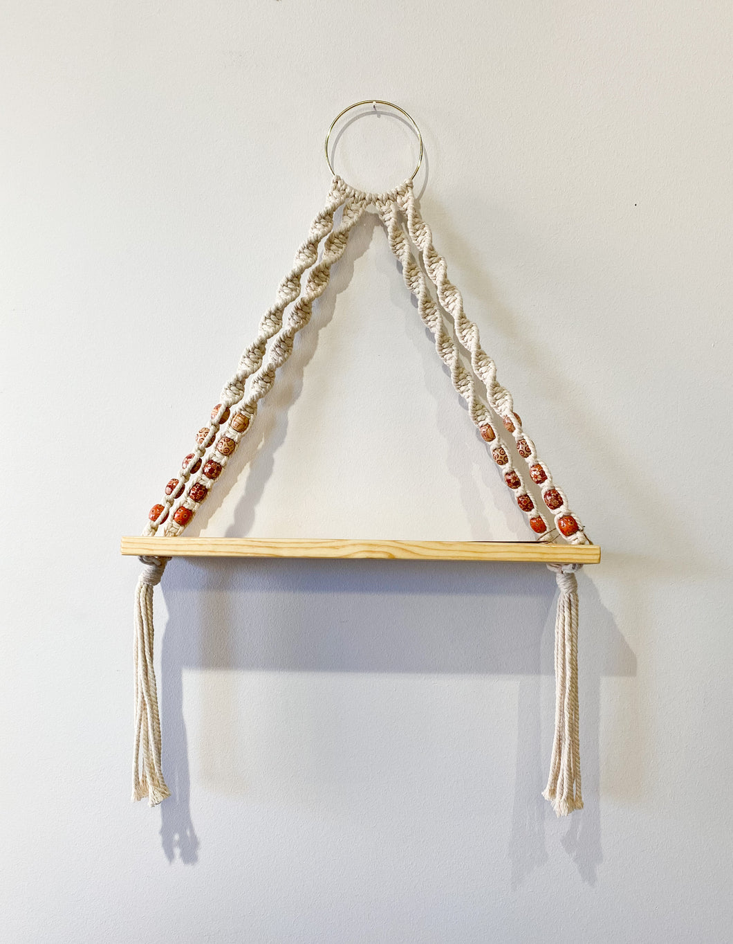Wood Bead Small Macrame Wood Shelf
