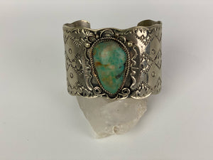 Vintage Nickel Silver and Turquoise Navajo Cuff by Bobby Cleveland-P1905C