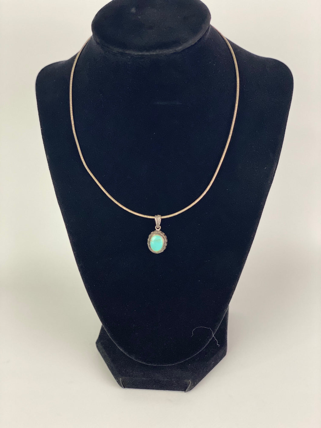 Small Vintage Necklace with Turquoise Pendant-P2004N
