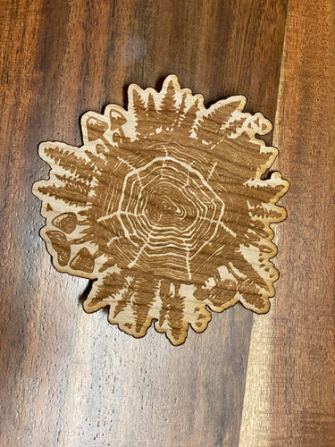3D Laser Cut Wood 'Wood World' Sticker