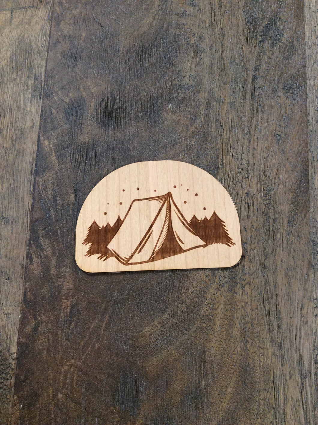 Tent 3D Laser Cut Wood Sticker