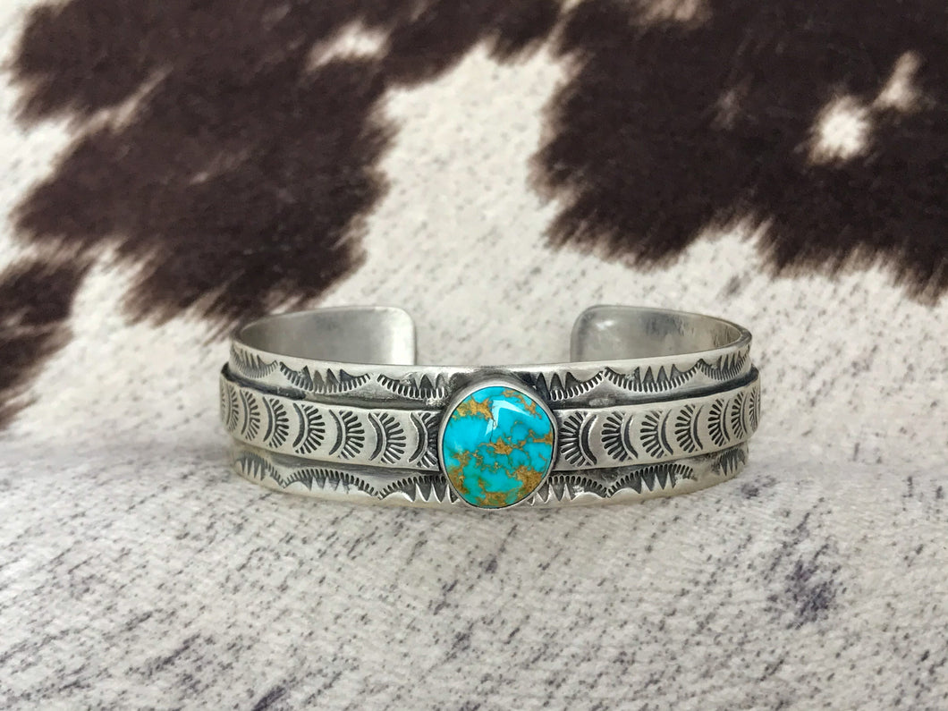 Wide Silver and Turquoise Cuff-SS1919C
