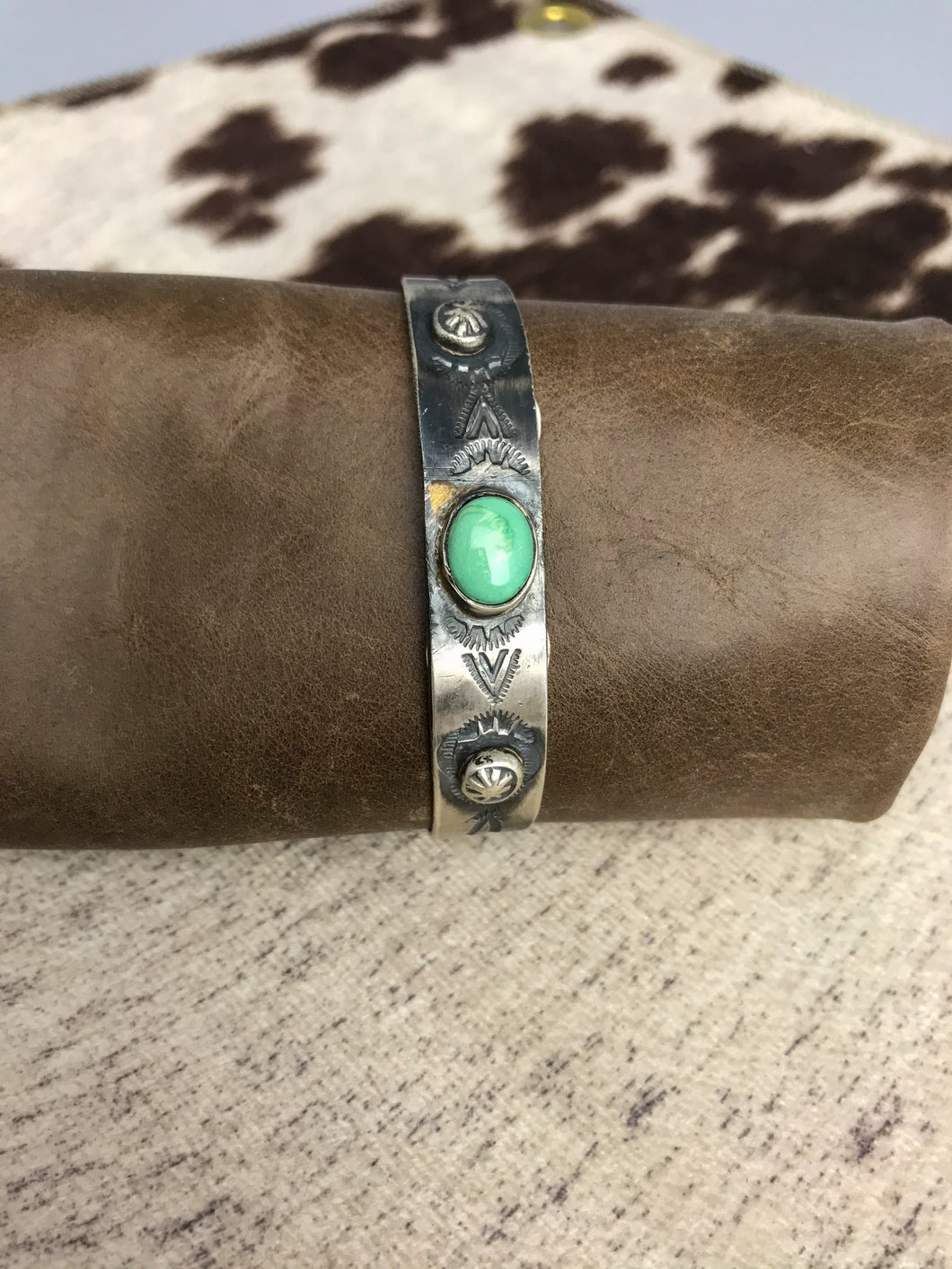 Silver and Round Turquoise Cuff