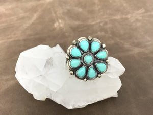 Small Turquoise Flower Ring-SS1921R1
