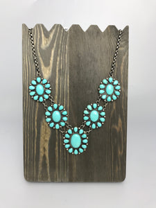 Turquoise Flower Pendant Necklace-SS1910N