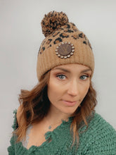 Load image into Gallery viewer, Upcycled LV Leopard CC PomPom Beanie