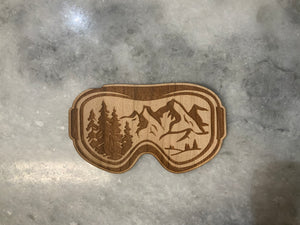 Snow Goggles 3D Laser Cut Wood Sticker