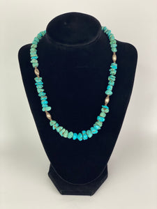 Turquoise Chunk Beaded Necklace-P1928N