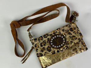 Cheetah Cow Hide Leather Crossbody Mini with Upcycled LV Accent